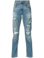 R 13 R13 Ripped Slim Fit Jeans Blue