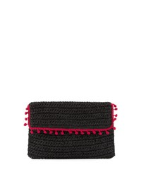 San Diego Hat Company Flap Pompom Rectangular Clutch Black