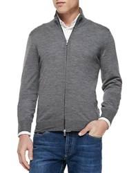Brunello Cucinelli Fine Gauge Full Zip Sweater Gray