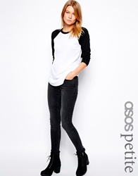Asos Petite Whitby Low Rise Skinny Jeans In Washed Black Washedblack