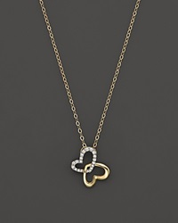 Bloomingdale's Diamond Butterfly Pendant Necklace In 14K Yellow Gold .08 Ct. T.W. Gold White