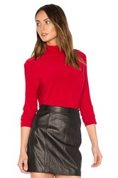 Norma Kamali Long Sleeve Turtleneck Red