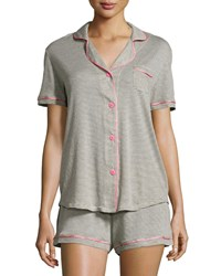 Cosabella Bella Short Sleeve Feed Striped Pajama Set Heather Gray Pink