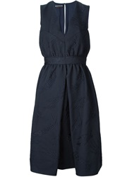 Rochas Glove Cloque Sleeveless Dress Blue