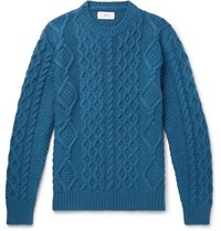 Mr P. Cable Knit Merino Wool And Cashmere Blend Sweater Teal
