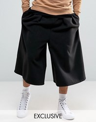 Reclaimed Vintage Culottes In Faux Wool Black Tan
