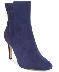 Nine West Herenow Ruched Back Booties Women's Shoes Navy Suede