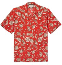 Gucci Camp Collar Floral Print Silk Shirt Red