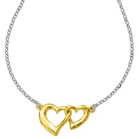 Dower And Hall 18Ct Gold Vermeil Entwined Hearts Pendant Necklace Silver Gold