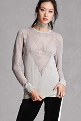 Forever 21 Semi Sheer Open Knit Top Heather Grey