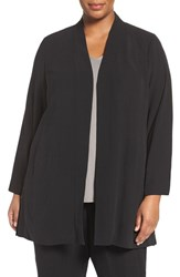 Eileen Fisher Plus Size Women's Long Silk Crepe Jacket Black