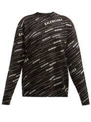 Balenciaga Logo Intarsia Crew Neck Sweater Black White