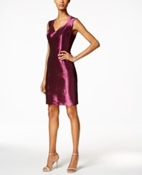 B Michael Taffeta Sheath Dress Red