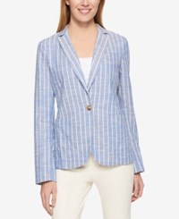 Tommy Hilfiger Long Sleeve Striped Blazer Only At Macy's Dusty Blue