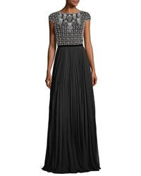 Theia Cap Sleeve Beaded Pleated Bateau Neck Evening Gown Black