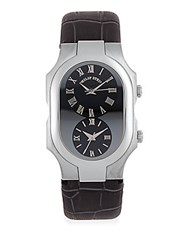 Philip Stein Teslar Dual Dial Leather Strap Watch Grey