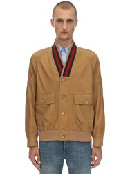 Gucci Leather Bomber Jacket W Web Collar Brown