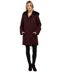 Vince Camuto Faux Fur Trim Parka L1051 Wine Women's Coat Burgundy