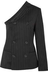 Moschino One Shoulder Pinstriped Wool Blend Top Black