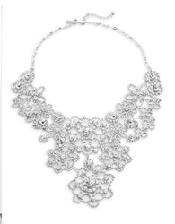 Kate Spade Crystal Lace Bib Statement Necklace Silver
