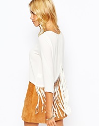 Fashion Union Crepe Wrap Back Top With Fringe Detail Cream