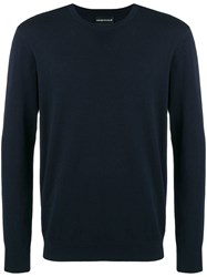 Emporio Armani Long Sleeve Fitted Sweater Blue