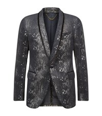 Billionaire Snake Print Velvet Jacket Male Grey