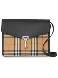 Burberry Small Vintage Check And Leather Crossbody Bag Black