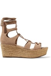 Schutz Hudson Lace Up Suede Wedge Sandals Taupe
