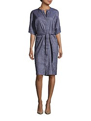 Lafayette 148 New York Crewneck Elbow Length Sleeve Dress Ink Multi