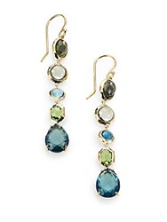 Ippolita Rock Candy Semi Precious Multi Stone And 18K Yellow Gold Linear Drop Earrings Gold Multi