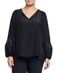 Go Silk Split Neck Long Sleeve Blouse Black