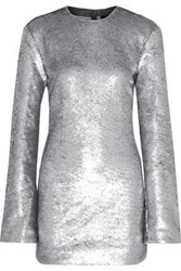 Rta Carringthon Sequined Cotton Blend Mini Dress Silver