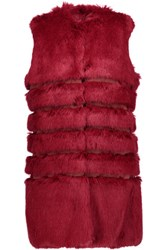 Ainea Faux Fur And Satin Vest Plum