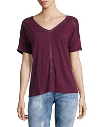 Lord And Taylor Double V Neck Linen Tee