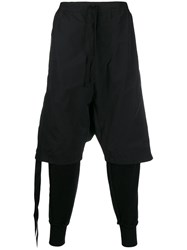 Unravel Project Layered Drop Crotch Trousers Black