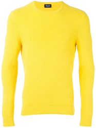Drumohr Crew Neck Jumper Men Cotton Polyamide 46 Yellow Orange