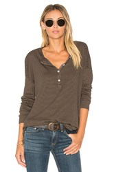 Sundry Stripes Rib Henley Army