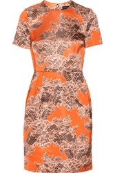Jonathan Saunders Helen Lace Print Satin Dress Orange