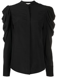 Alexander Mcqueen Ruffle Shoulder Blouse Black
