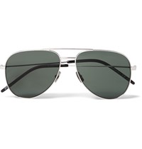 Saint Laurent Classic 11 Aviator Style Silver Tone Sunglasses Silver