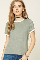 Forever 21 Heathered Knit Ringer Tee