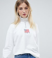 Daisy Street Relaxed Sweatshirt With Half Zip And Flag Embroidery White