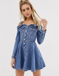 Miss Sixty Off The Shoulder Flare Denim Dress With Button Detail Blue