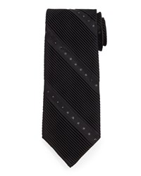Stefano Ricci Wide Diagonal Pleat And Crystal Silk Tie Black
