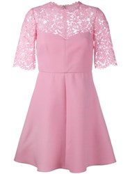 Valentino Corded Lace And Crepe Mini Dress Pink Purple