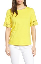 Draper James Palmetto Lace Tee Shirt Yellow