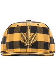 Palm Angels Embroidered Leaf Hat Yellow And Orange