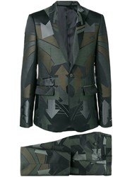 Les Hommes Printed Two Piece Suit Green