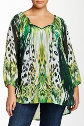 Sienna Rose Printed Boatneck Blouse Plus Size Multi